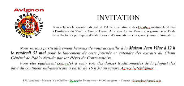 Invitation Fete National de L'Amérique Latine & des Caraibes en Avignon