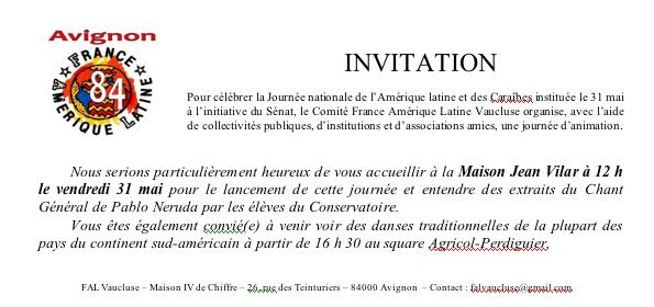 Invitation Fete National de L'Amérique Latine & des Caraibes en Avignon